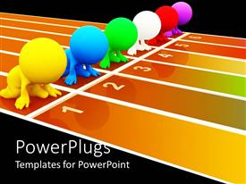 PowerPoint template displaying six 3D colored figures taking position at start line for running, race, racing figures