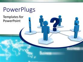 PowerPlugs: PowerPoint template with six 3D men circle round large question mark symbol in middle