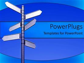 PowerPlugs: PowerPoint template with six blank street signs pointing various directions, anything is possible