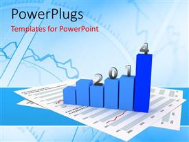 PowerPlugs: PowerPoint template with six blue colored bars with the figures '2014' on them