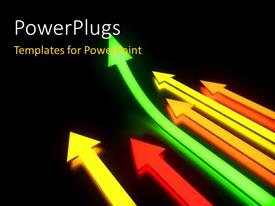 PowerPlugs: PowerPoint template with six bright shinning arrows with a leading green one