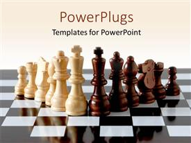 PowerPoint template displaying six brown and white chess pieces on a reflective chess board
