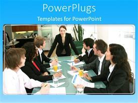PowerPoint template displaying six business men and women having a meeting with a leader