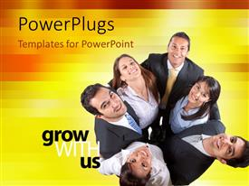 PowerPlugs: PowerPoint template with six business people starring up with text thatspell out the words'grow with us'