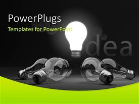 PowerPlugs: PowerPoint template with glowing light bulb depicting bright idea in middle with others around it