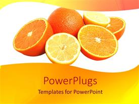 PowerPlugs: PowerPoint template with six large yellow oranges cut in halves and open