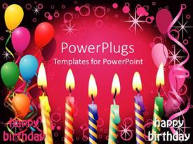 PowerPlugs: PowerPoint template with six lit birthday candles balloons party pink and black background