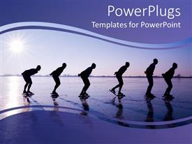 PowerPoint template displaying six men ice skating at dawn in purple background