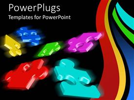 PowerPoint template displaying six multi colored puzzle pieces on a back background