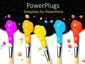 PowerPlugs: PowerPoint template with six paint brushes with paints on it over a 3D background