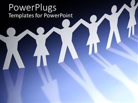 PowerPlugs: PowerPoint template with six paper figures holding hands on reflective surface depicting friendship and community