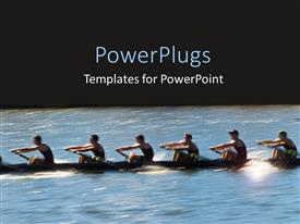 PowerPoint template displaying six people on a boat on river with black background