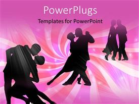 PowerPlugs: PowerPoint template with six people dancing together in pairs of two on a pink background