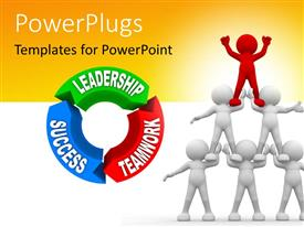 PowerPlugs: PowerPoint template with six people human pyramid next to leadership, success and teamwork cycle