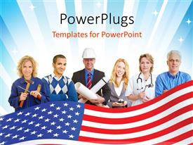 PowerPlugs: PowerPoint template with six people wearing different occupational attires with a USA flag in their front