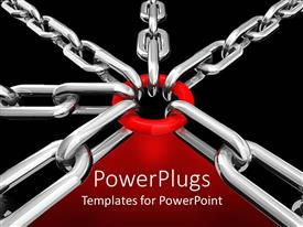 PowerPoint template displaying six silver chains linked on a red circle on red and black background