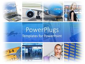PowerPlugs: PowerPoint template with six tiles with airplanes, laptop, and two young girls