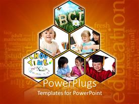 PowerPlugs: PowerPoint template with six tiles with a kids and parents learning and an Education text