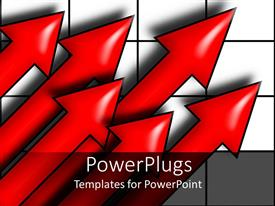 PowerPlugs: PowerPoint template with six upward pointing red arrows on black and white grid