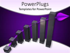 PowerPlugs: PowerPoint template with six vertical black bars with a purple arrow behind them