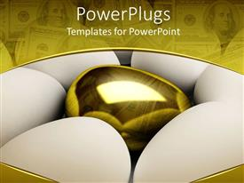 PowerPlugs: PowerPoint template with six white eggs with a golden egg in the center