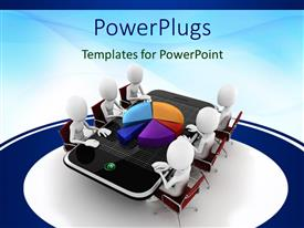 PowerPlugs: PowerPoint template with six white figures sitting around smart phone table with three dimensional exploded pie chart