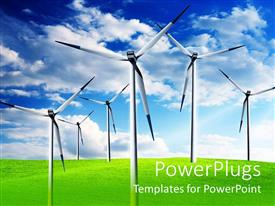 PowerPlugs: PowerPoint template with six white wind turbines on large open green field