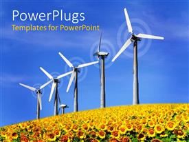 PowerPlugs: PowerPoint template with six windmills on sunflower field over blue sky background