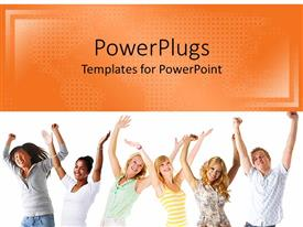 PowerPlugs: PowerPoint template with six young friends lift hands in celebration on white background