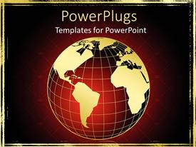 PowerPlugs: PowerPoint template with skeleton of globe with world map on red and black background