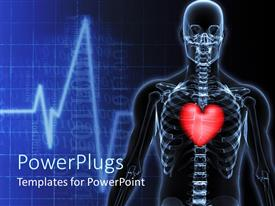 PowerPlugs: PowerPoint template with a skeleton with a heart and heartbeat lines in the background