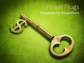 PowerPoint template displaying skeleton key with dollar sign on green background with blurred dollar bills