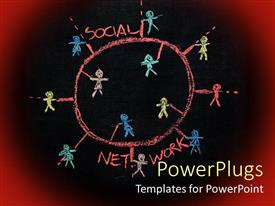 PowerPoint template displaying sketch on blackboard with colorful figures drawn and SOCIAL NETWORK written