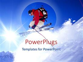 PowerPoint template displaying skier jumping on snow with sky in the background