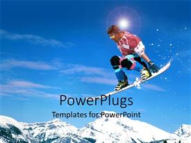 PowerPlugs: PowerPoint template with skier performs acrobatic stunt down mountain side with board