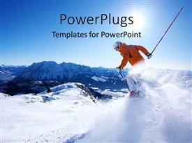 PowerPlugs: PowerPoint template with a skier showing his skills with mountains in the background