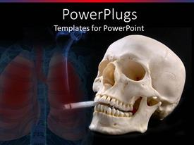 PowerPlugs: PowerPoint template with a skull with a cigarete and lungs in the background