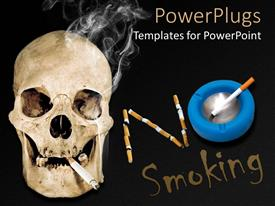 PowerPlugs: PowerPoint template with skull with lit cigarette no smoking, blue ashtray