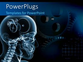 PowerPoint template displaying skull with a number of gears