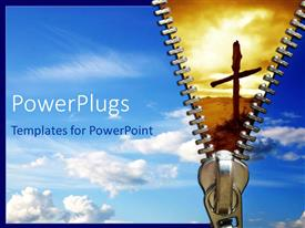 PowerPlugs: PowerPoint template with sky background with zipper opening into gloomy background with wooden cross