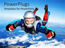 PowerPoint template displaying a skydiver feeling happy after jumping from the airplane