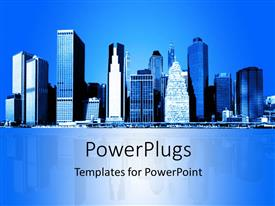 PowerPlugs: PowerPoint template with skyline of New York city with reflection in background