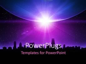 PowerPlugs: PowerPoint template with skyline and planet earth with sunrise