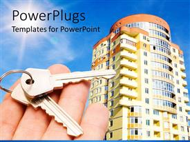 PowerPlugs: PowerPoint template with a skyscraper along with a hand holding keys and sun in the background