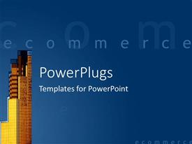 PowerPoint template displaying a skyscraper with bluish background and place for text