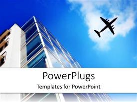 PowerPlugs: PowerPoint template with skyscraper with large windows and flying plane on the light blue sky