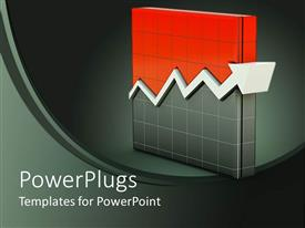 PowerPlugs: PowerPoint template with a slab of an orange and back chart sheet with a white arrow