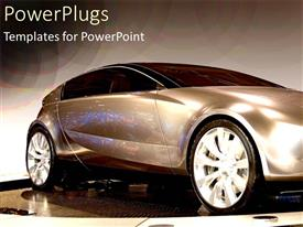 PowerPoint template displaying a sleek brown colored saloon sports car on display
