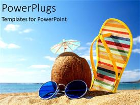 PowerPoint template displaying a sleeper along with a coconut and sunglasses on a beach
