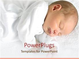 PowerPoint template displaying sleeping newborn baby dressed in white on white soft blanket
